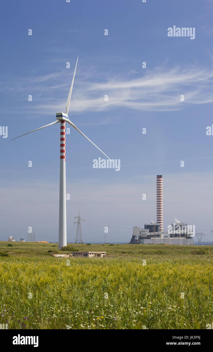 Italy, Sardinia, North Western Sardinia, Porto Torres, wind farm and powerplant - Stock Image
