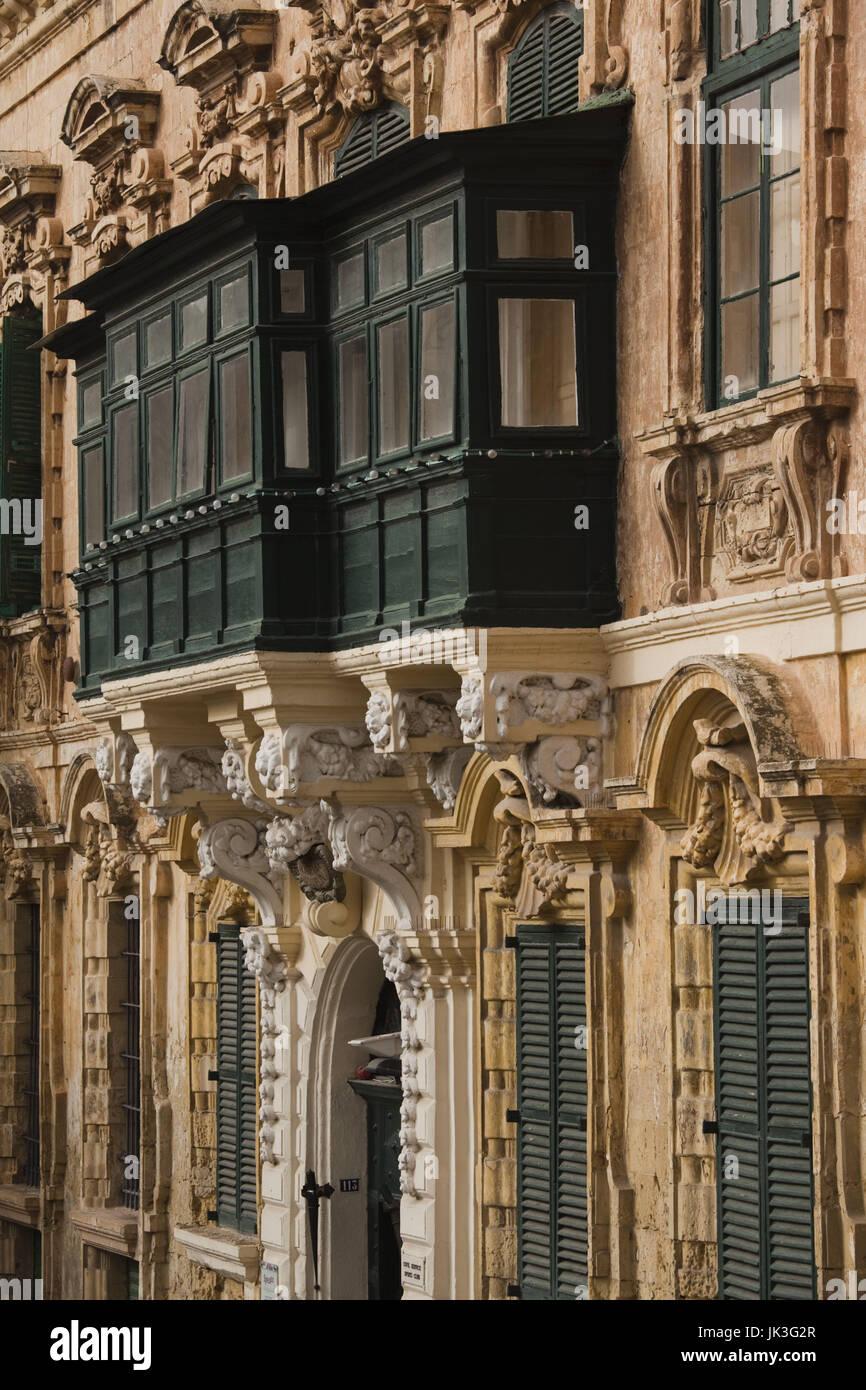 Malta, Valletta, Maltese architecture, buildings on Triq ir-Repubblika, Republic Street - Stock Image