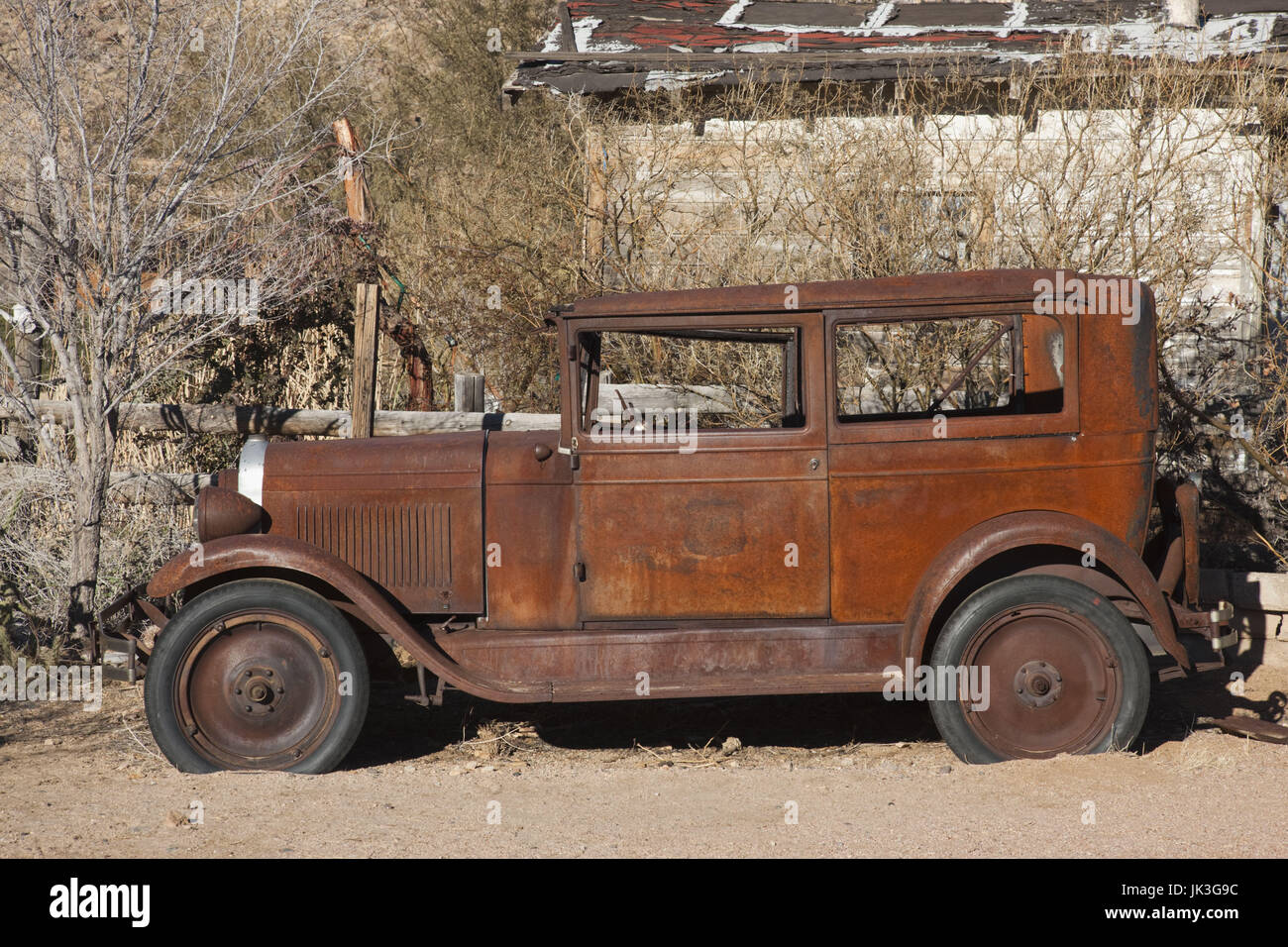 USA, Arizona, Hackberry, Rt. 66 Town, Old Rt 66 Visitor Center, 1930's car - Stock Image