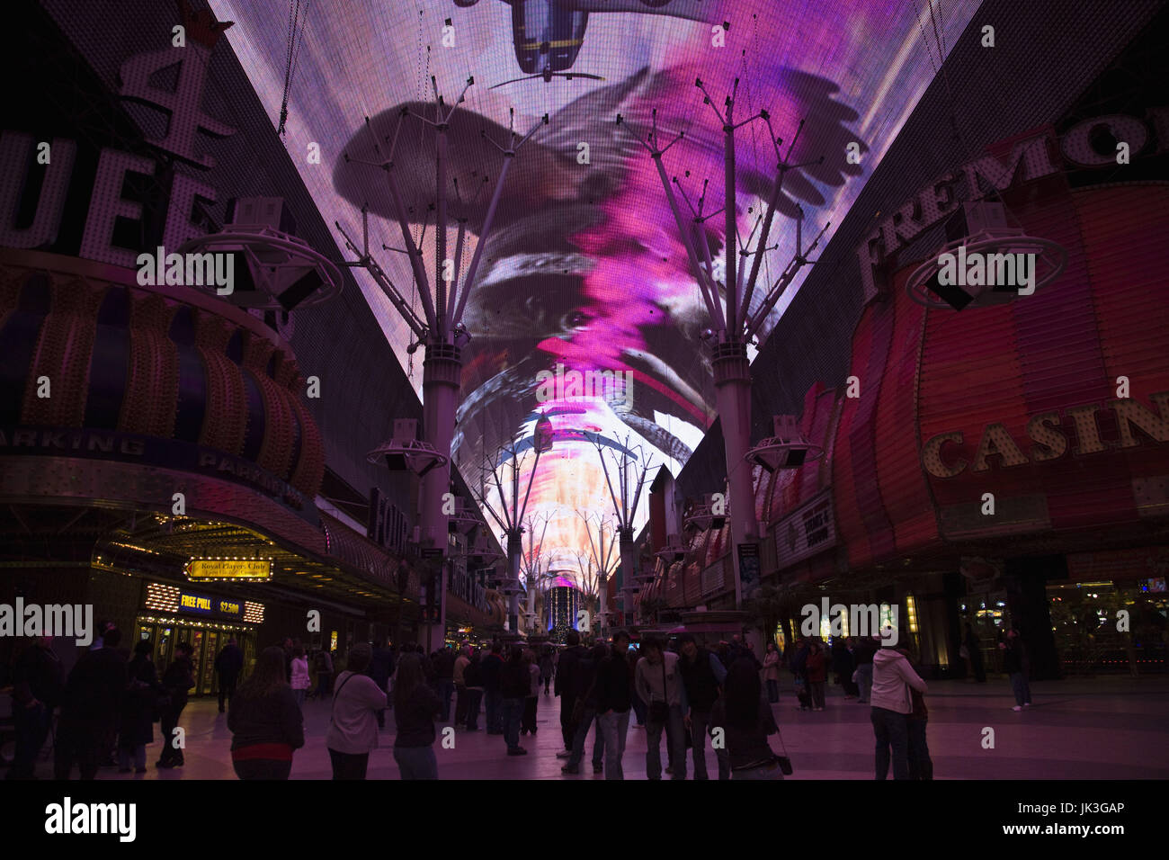 USA, Nevada, Las Vegas, Downtown, Fremont Street Experience, audio visual extravaganza projected on street canopy - Stock Image