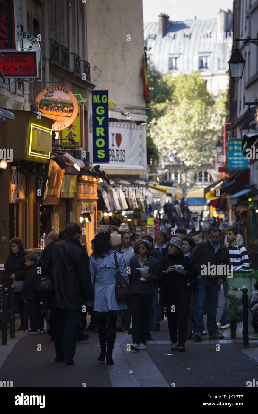 France, Paris, Left Bank, Rue de la Huchette (NR) - Stock Image