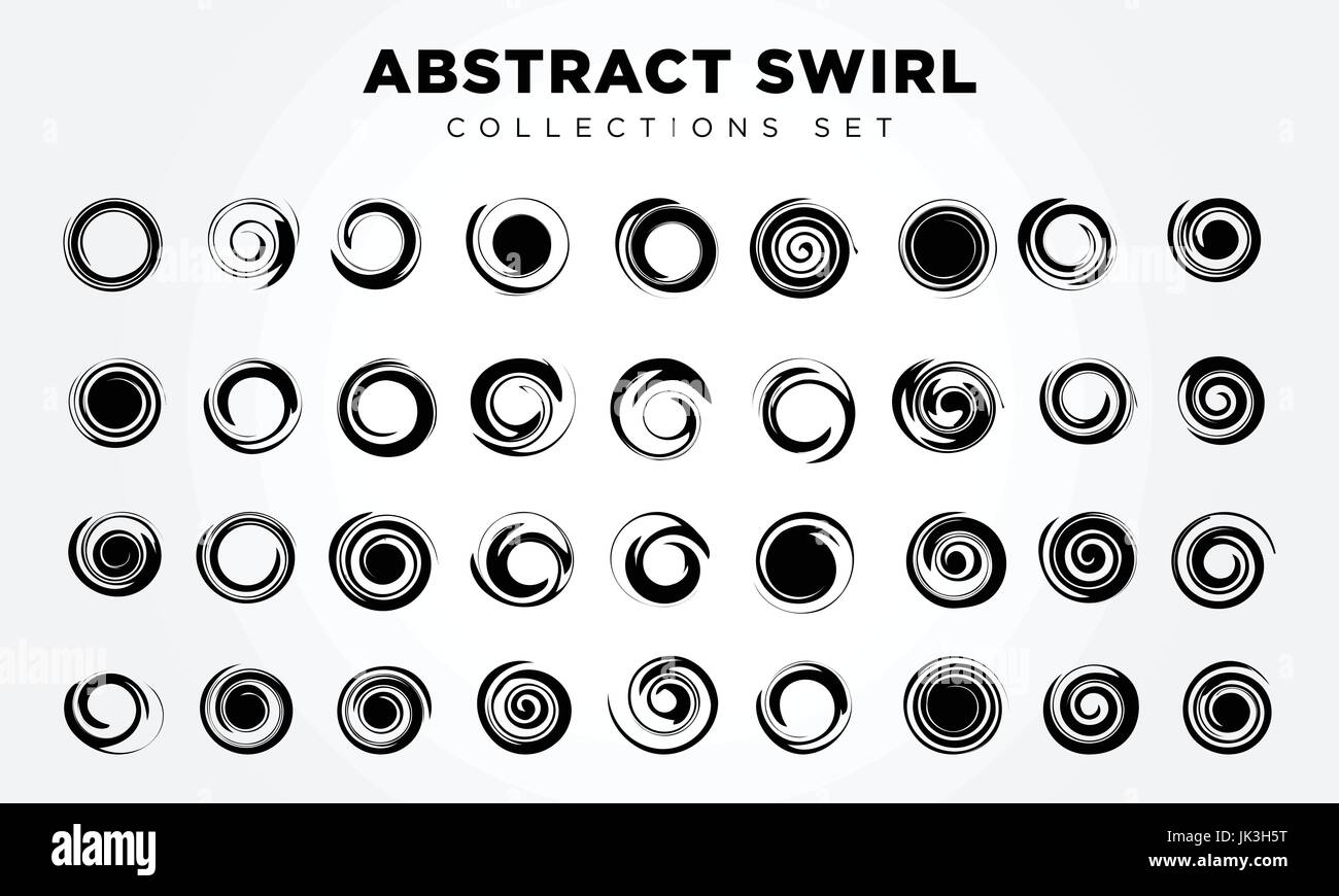 Spiral movement and rotation. Design elements set - Stock Image