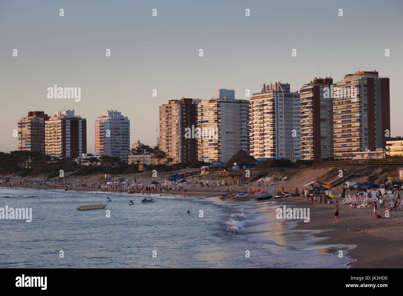 Uruguay, Punta del Este, condo towers by Playa Mansa beach, sunset - Stock Image