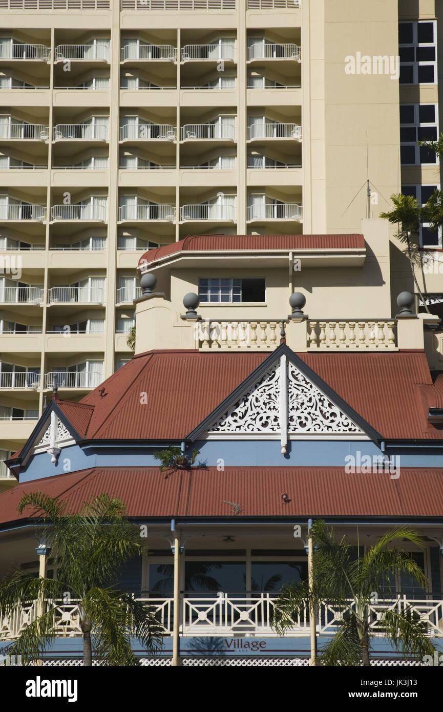 Australia, Queensland, North Coast, Cairns, Detail of The Village Complex, Stock Photo