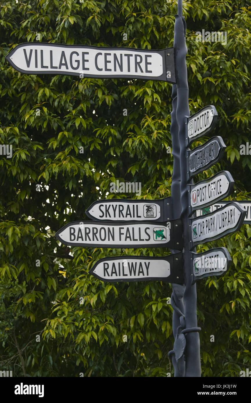 Australia, Queensland, North Coast, Kuranda, Street Sign, Stock Photo