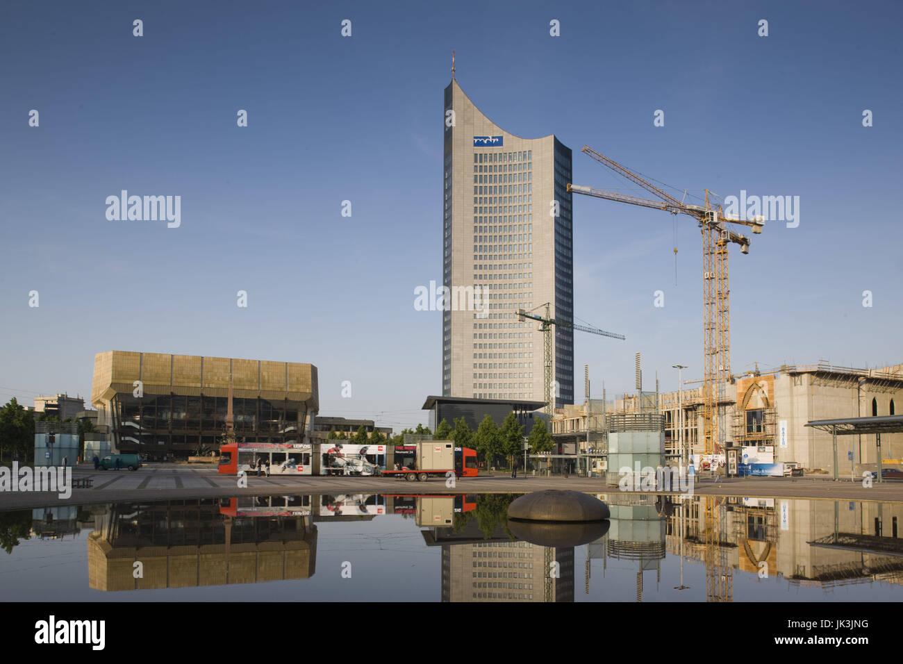 Germany, Sachsen, Leipzig, MDR Hochhaus tower, Augustusplatz, - Stock Image
