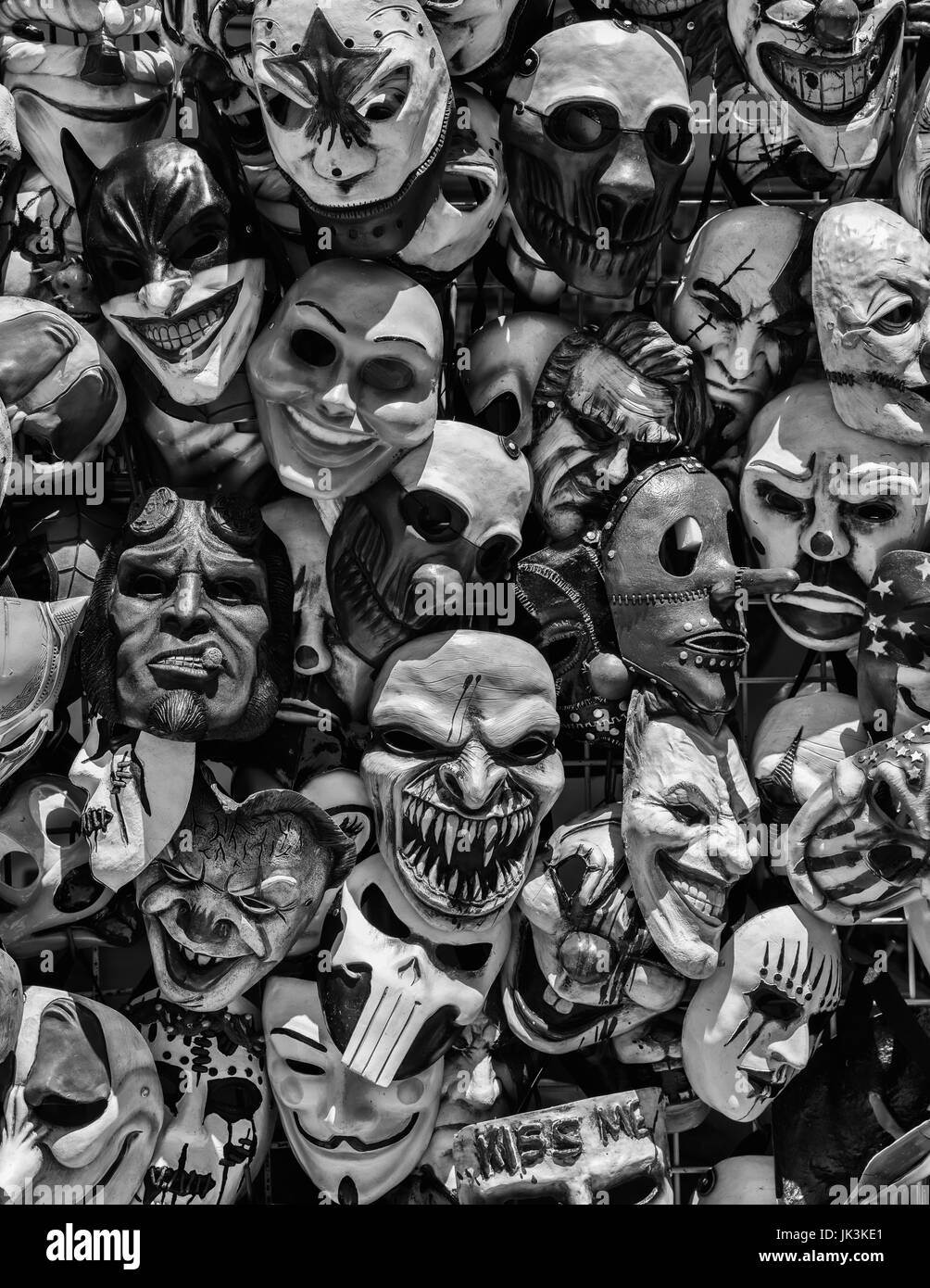 Odd and creepy masks for sale at the Cal Expo State Fair in Sacramento, California. - Stock Image