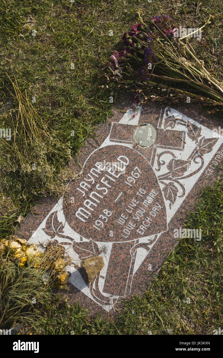 USA, California, Los Angeles, Hollywood, Hollywood Forever Cemetery, resting place of Jayne Mansfield, actress - Stock Image