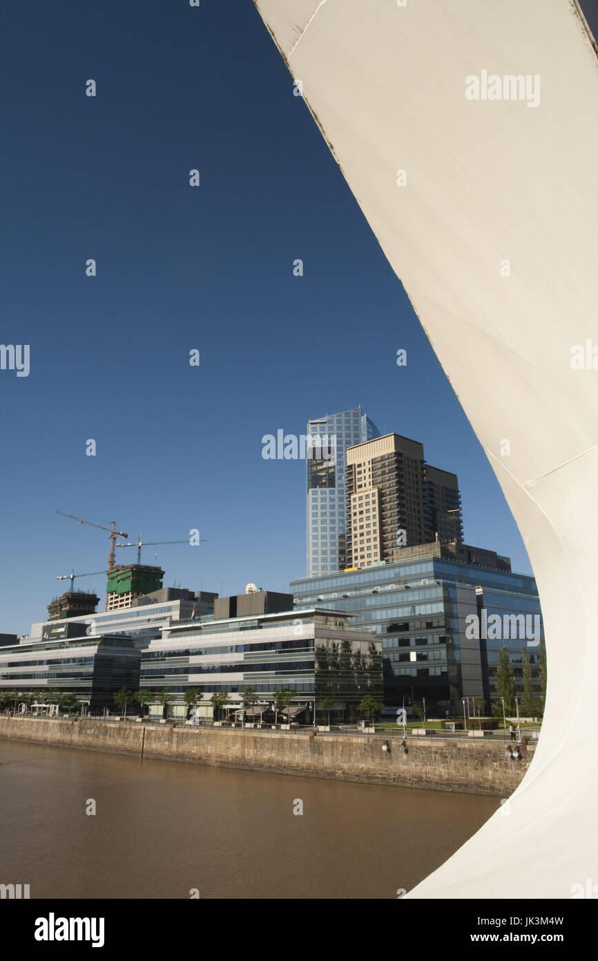 Argentina, Buenos Aires, Puerto Madero, new portside buildings from Puente de la Mujer bridge - Stock Image