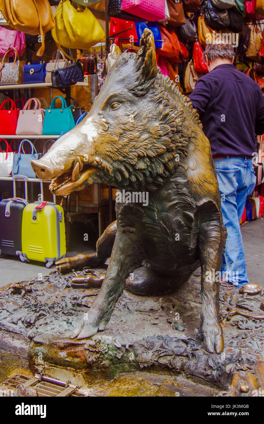 Il Porcellino the bronze fountain of a boar at the Mercato Nuovo in Florence Italy - Stock Image