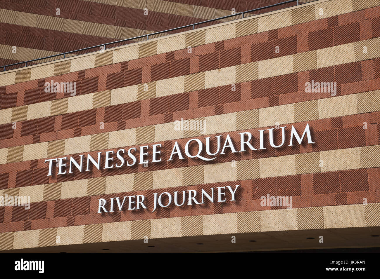 USA, Tennessee, Chattanooga, Tennessee Aquarium, exterior sign - Stock Image
