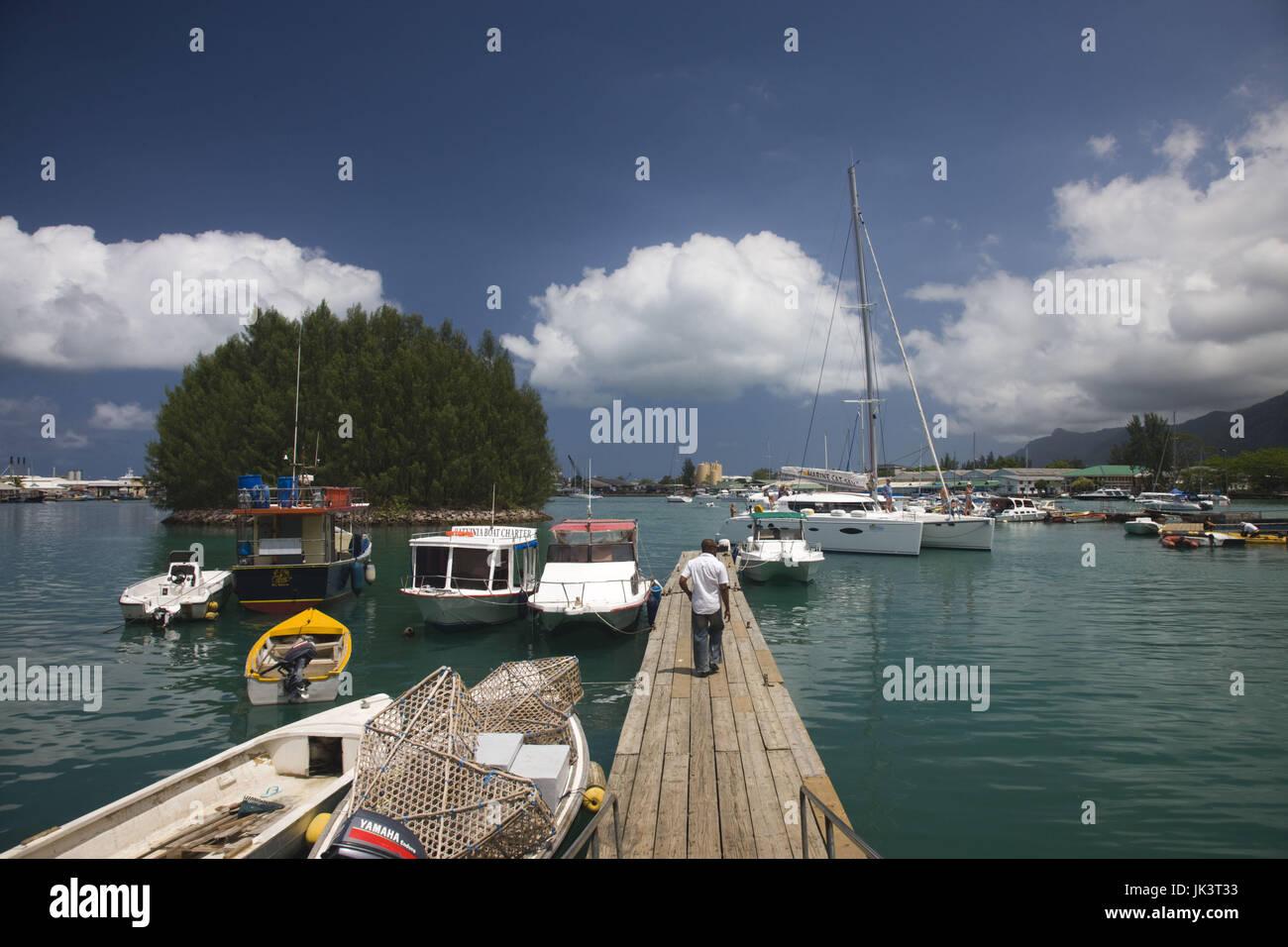 Seychelles, Mahe Island, Victoria, Botanical Gardens, small boat harbor - Stock Image