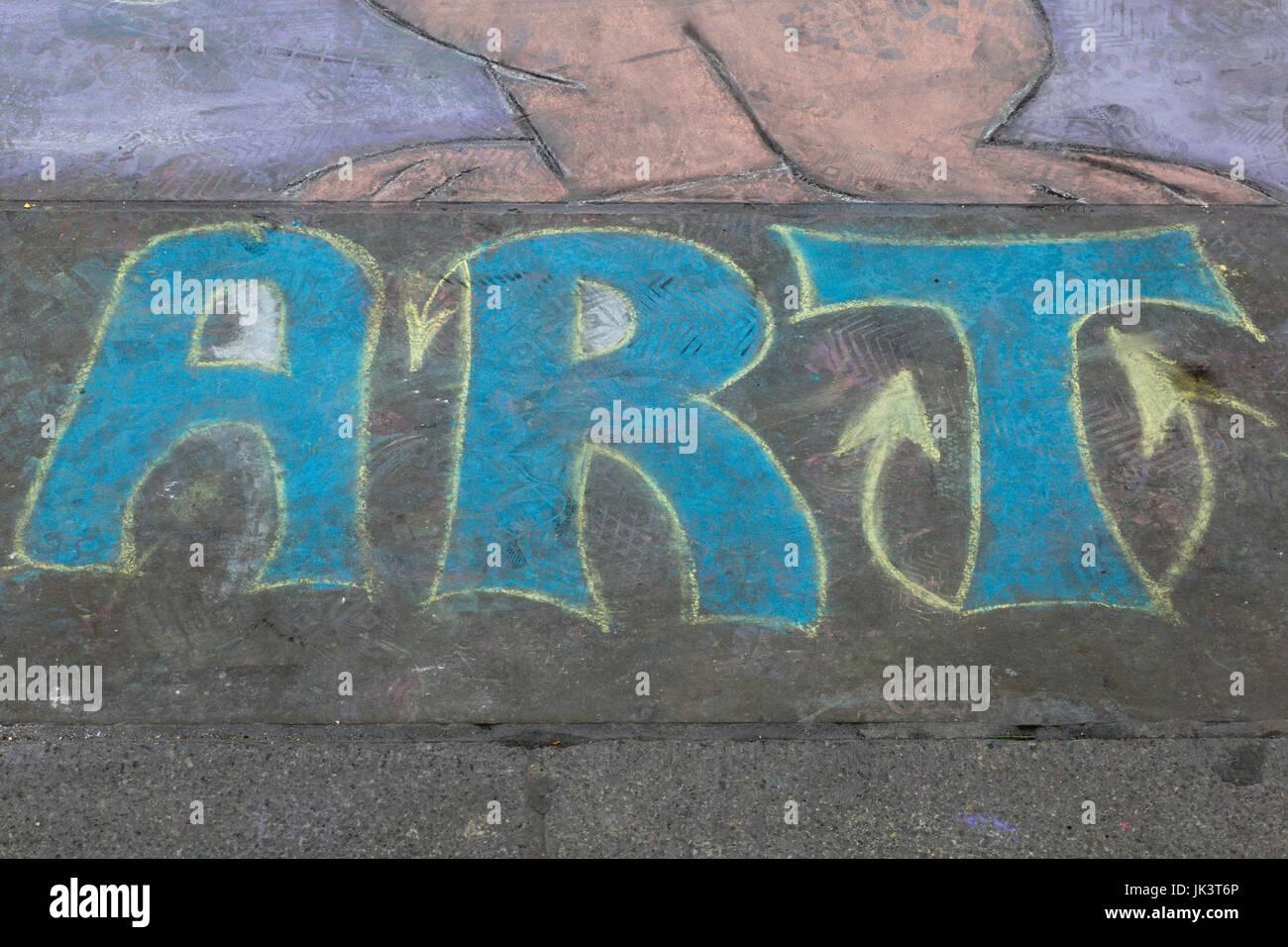 Art written in chalk on the sidewalk - Stock Image