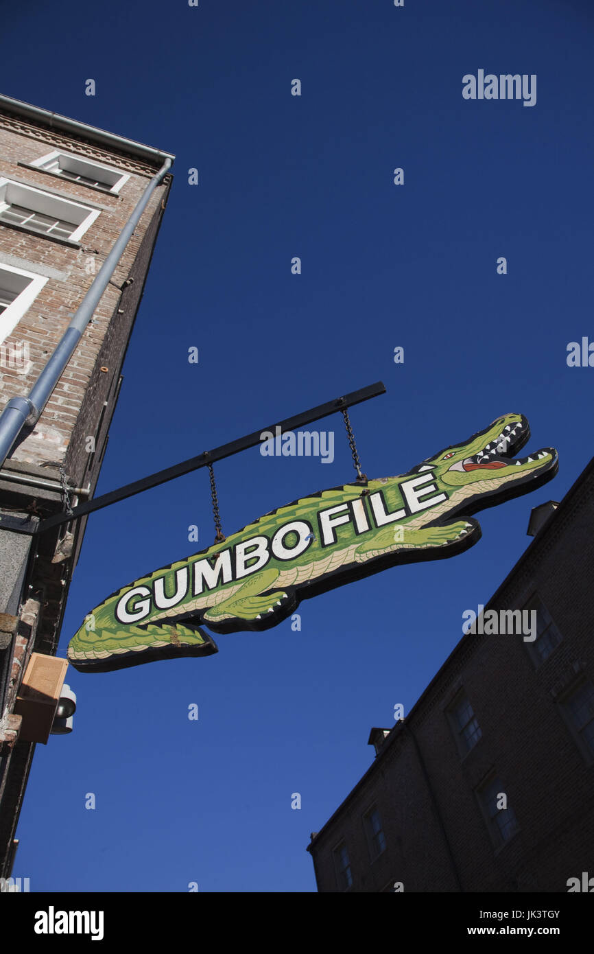 USA, Louisiana, New Orleans, French Quarter, sign for Gumbo File, Cajun food - Stock Image