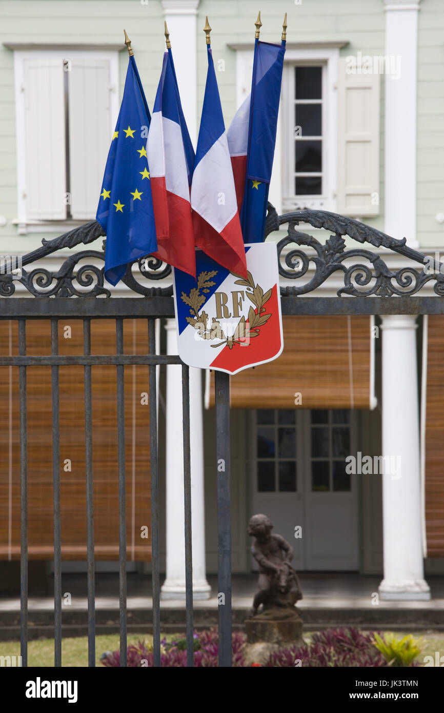 France, Reunion Island, St-Denis, RF Republique France sign on gate of official government building - Stock Image