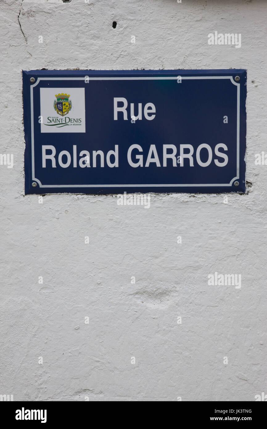 France, Reunion Island, St-Denis, streetsign for Rue Roland Garros - Stock Image