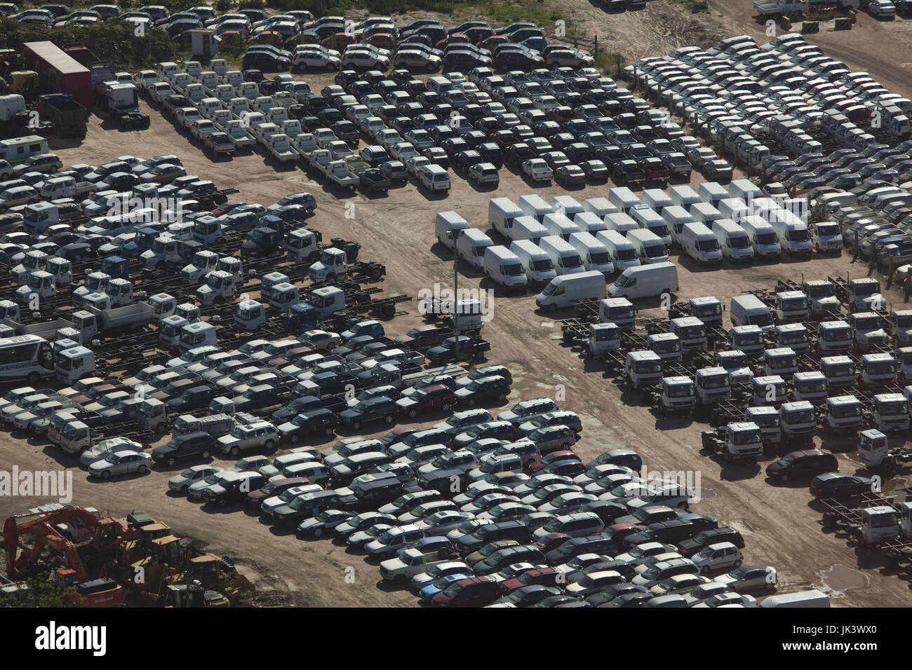 Uruguay, Montevideo, port view with new automobiles, aerial - Stock Image