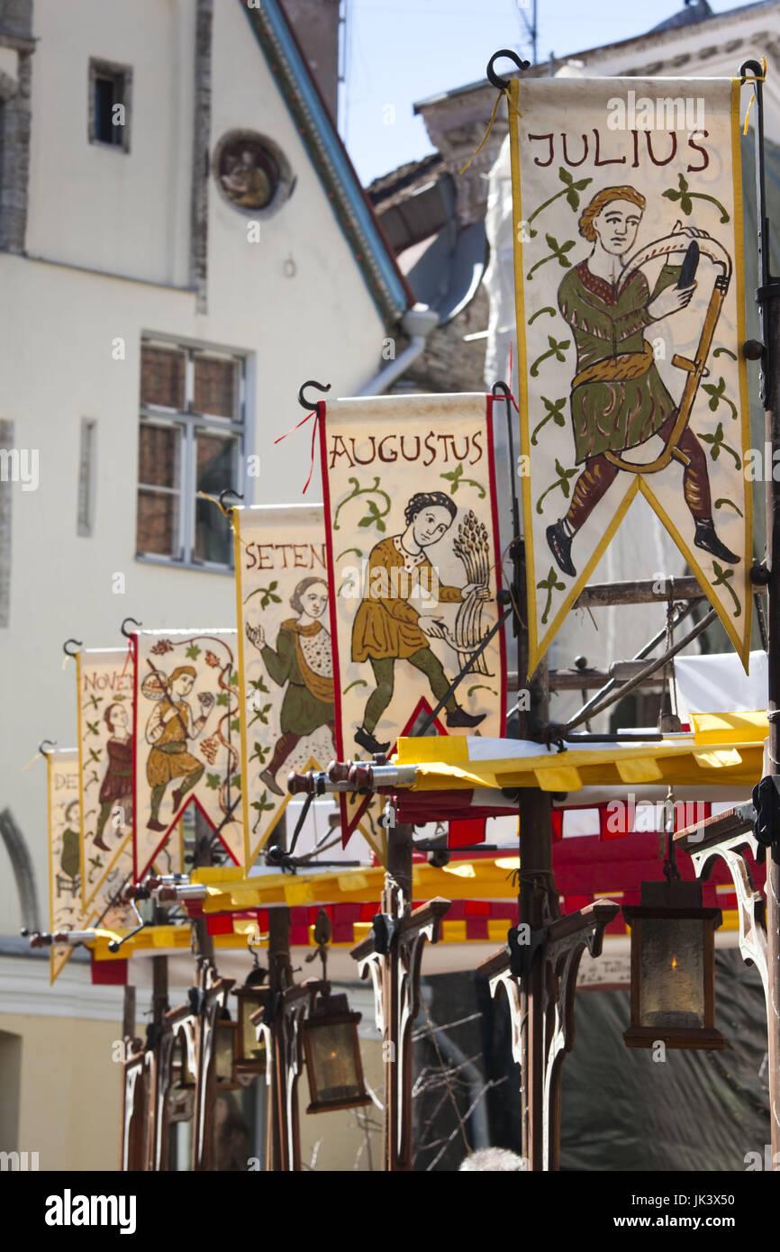 Estonia, Tallinn, Old Town, banners of Old Hansa Restaurant - Stock Image