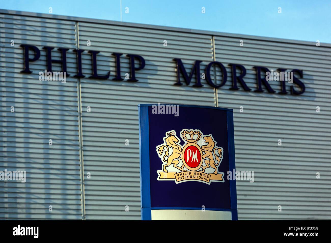 Tobacco factory, Philip Morris International, logo, sign