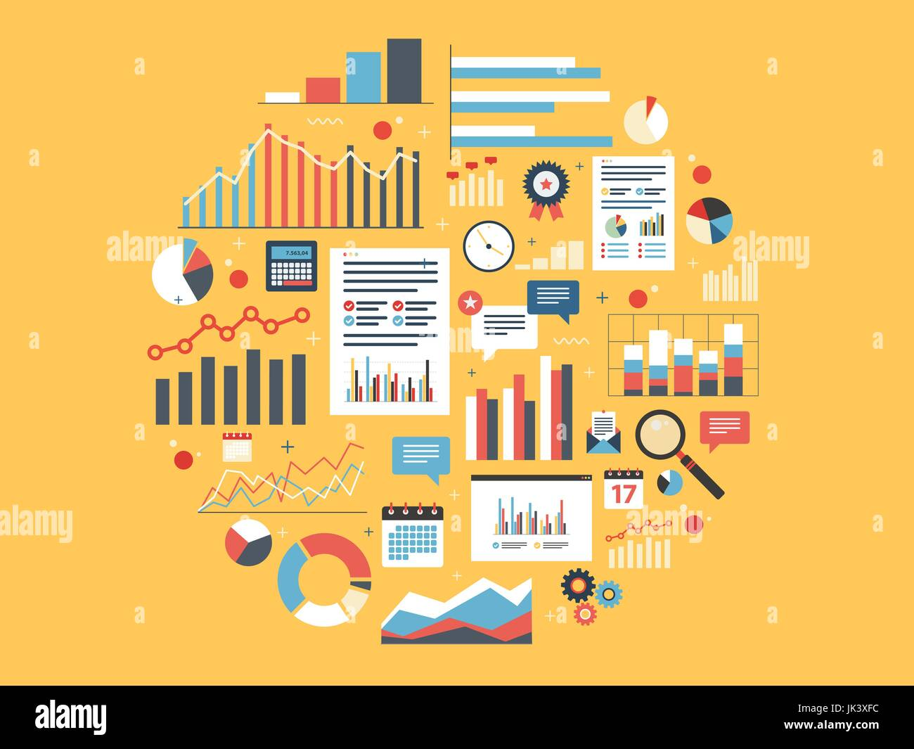Chart with statistics and data, statistic analytics and growth report. Icons in vector illustration of calculator, - Stock Image