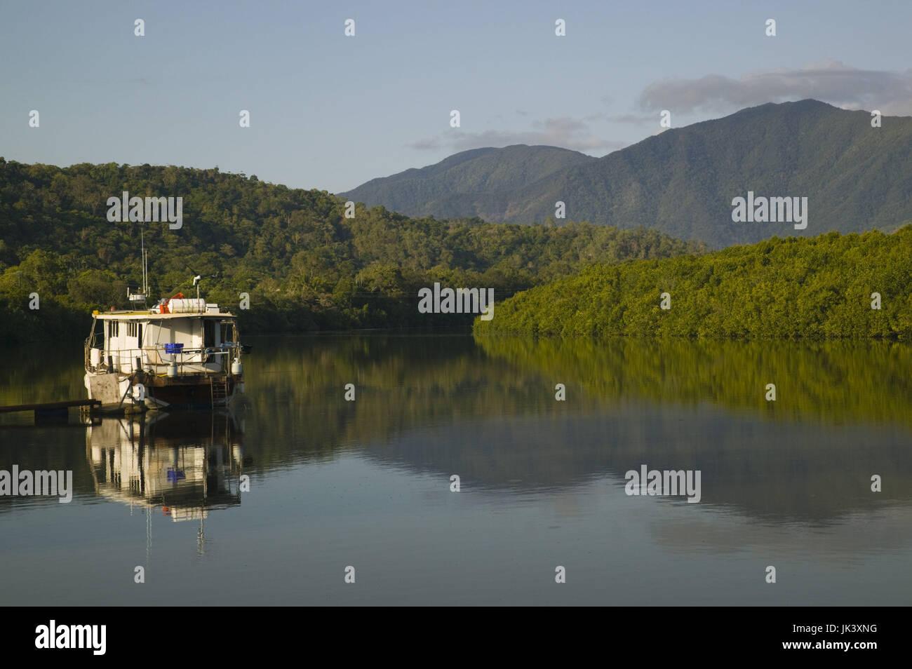 Australia, Queensland, North Coast, Cairns, Boat on the Barron River, Stock Photo