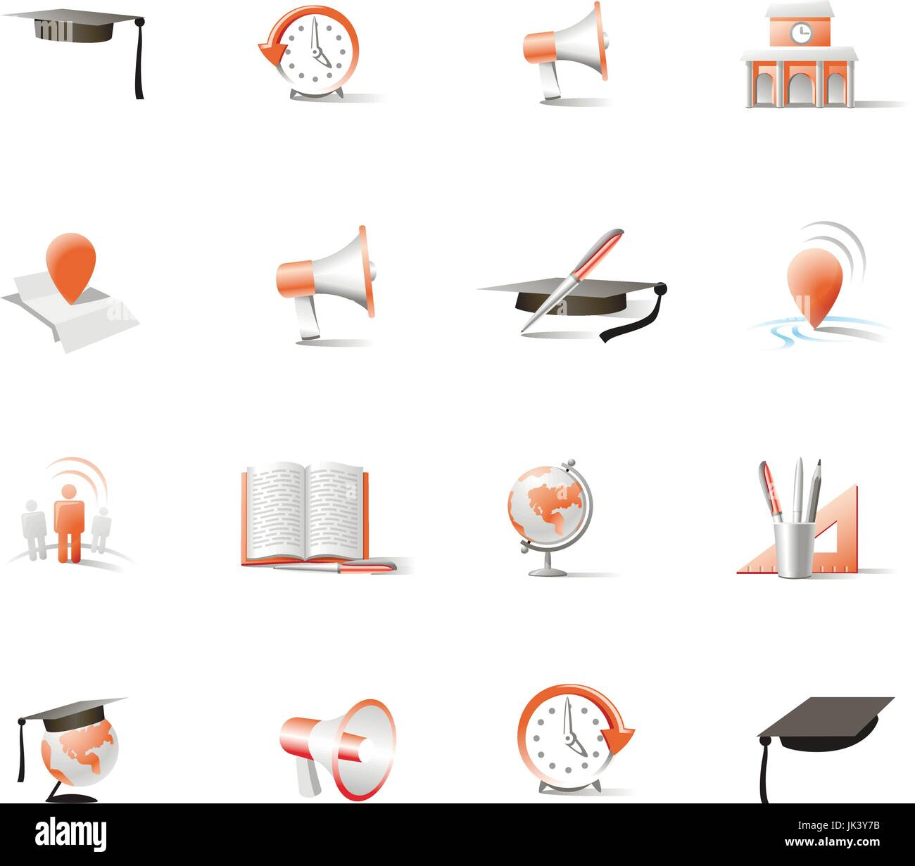 set of two-color vector icons for different industries - Stock Vector