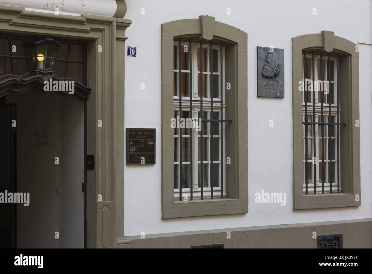Germany, Rheinland-Pfalz, Mosel River Valley, Trier, Karl Marx Haus, birthplace of political theorist, - Stock Image