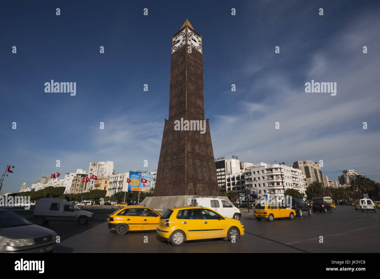 Tunisia, Tunis, Avenue Habib Bourguiba, Place du 7 Novembre 1987 clocktower, morning Stock Photo