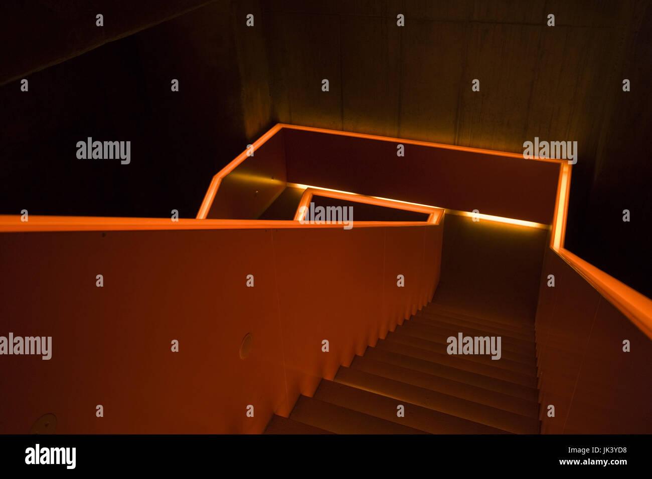 Germany, Nordrhein-Westfalen, Ruhr Basin, Essen, World Heritage Zollverein former coal mine, visitor center stairs, - Stock Image