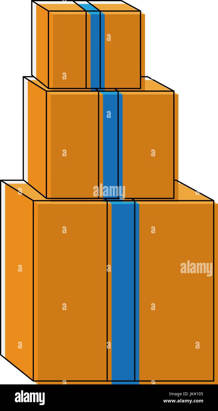 pile of cardboard boxes delivery cargo Stock Vector
