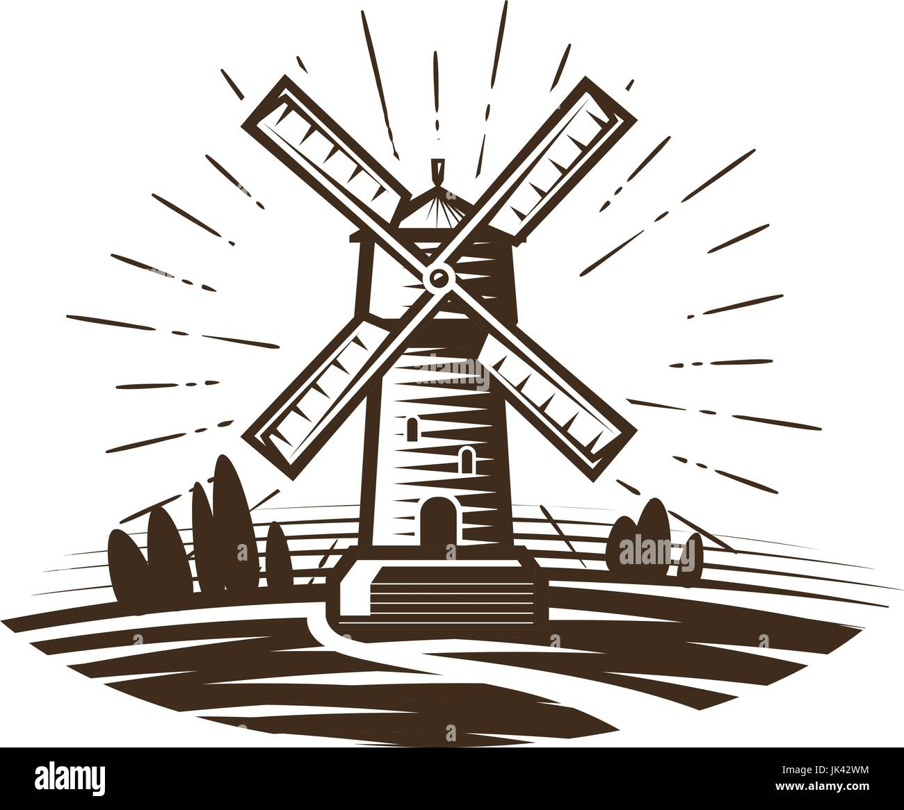 Mill, windmill logo or label. Farm, agriculture, bakery, bread icon. Vintage vector illustration - Stock Vector