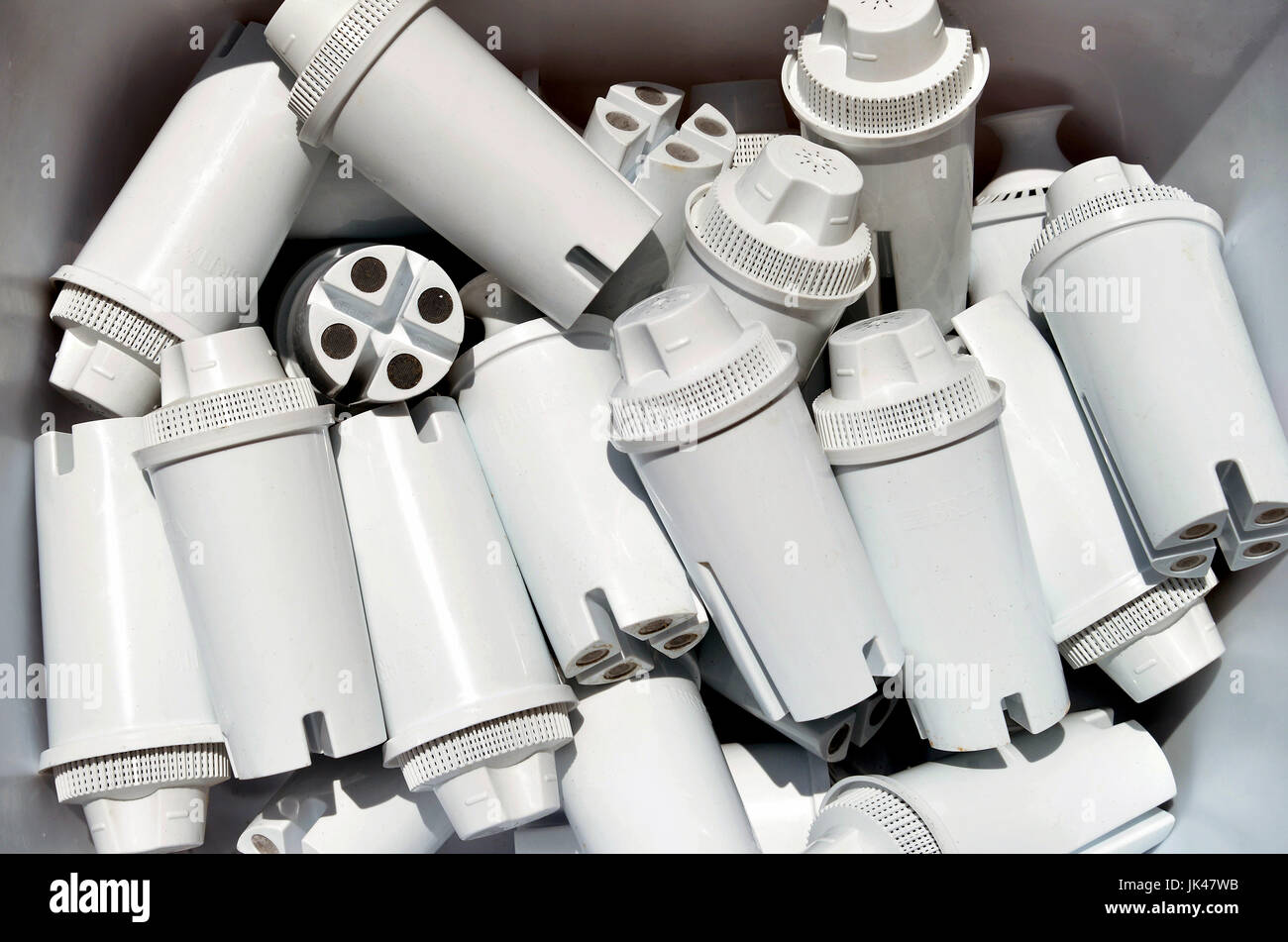 Depleted Britta water filters used in pitchers to remove or reduce zinc, copper, cadmium, chlorine, mercury and - Stock Image