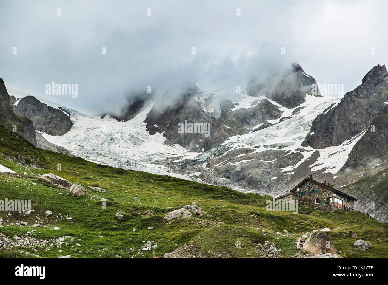 Rifugio Elisabetta in Val Veny in Italy along the Tour Du Mont Blanc - Stock Image