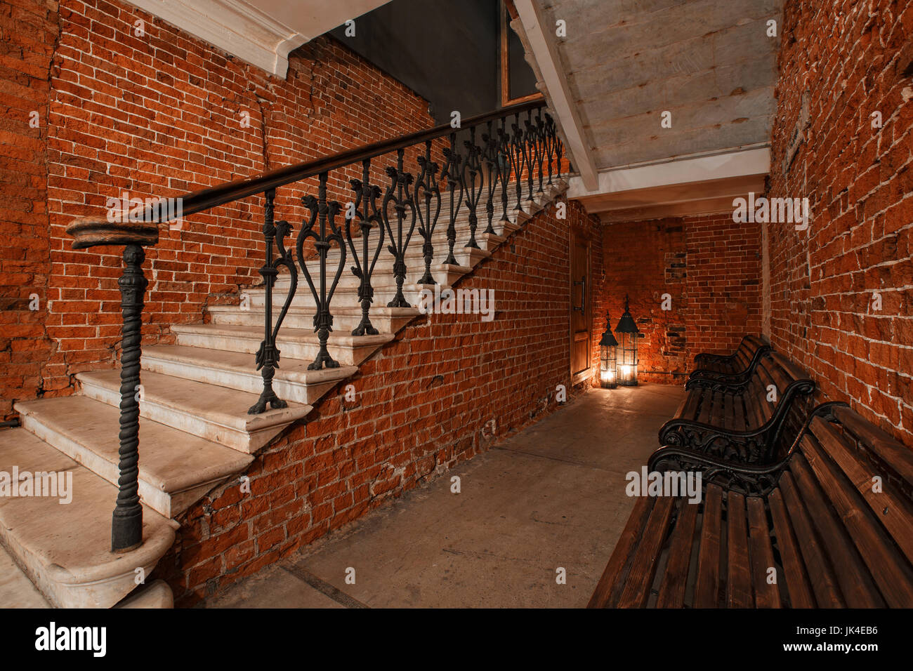 Modern Industrial Creative Workspace Staircase With Textured Brick Stock Photo Alamy