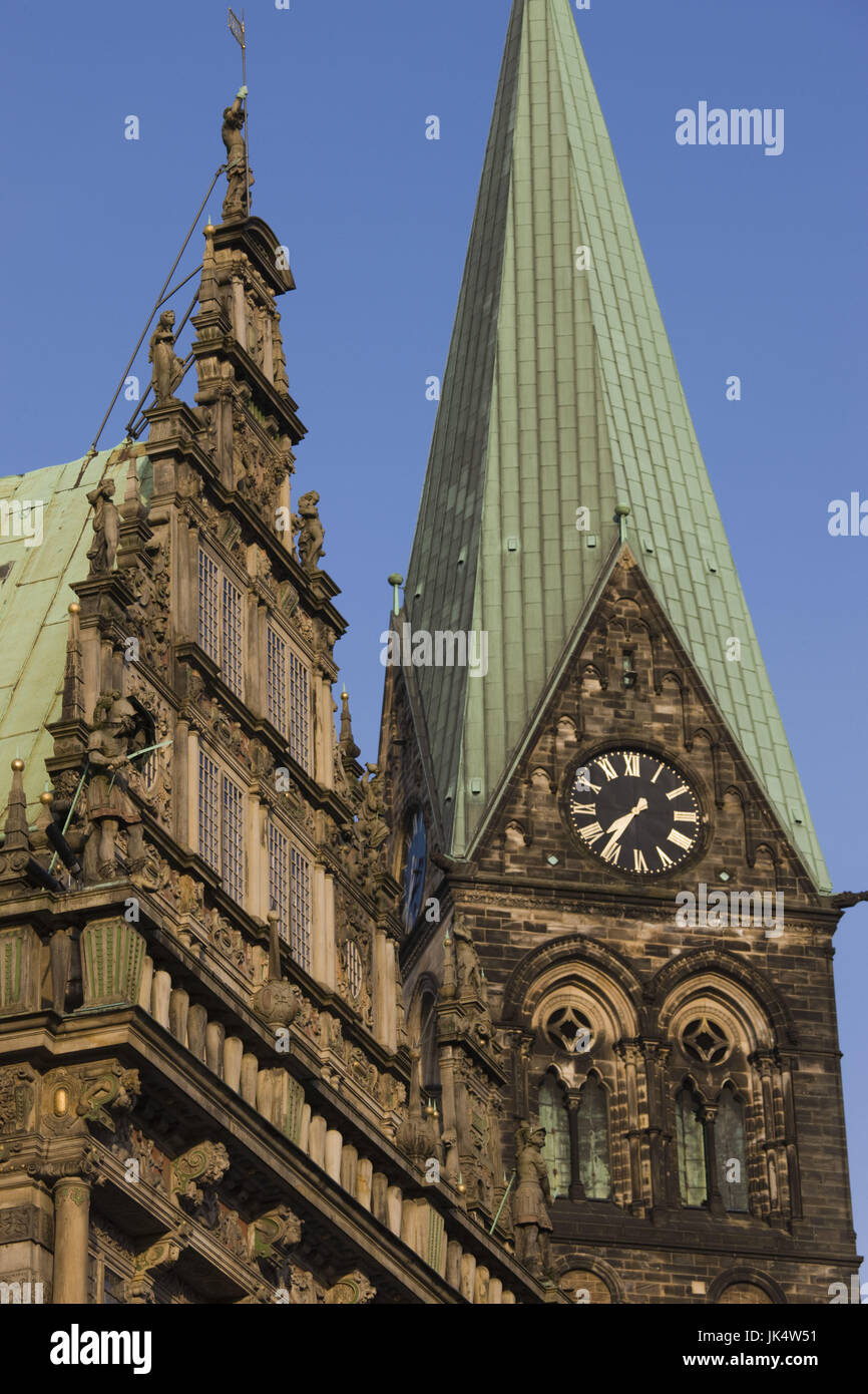Germany, State of Bremen, Bremen, City Hall and Dom St. Petri cathedral, Stock Photo