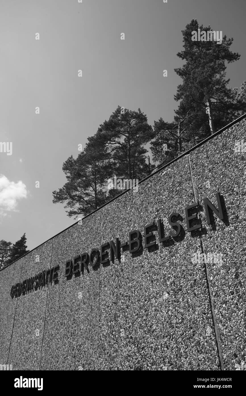 Germany, Niedersachsen, Bergen-Belsen WW2, concentration camp, memorial, sign, - Stock Image