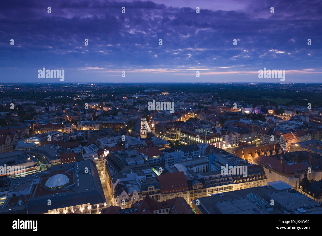 Germany, Sachsen, Leipzig, View from MDR Hochhaus Tower, - Stock Image