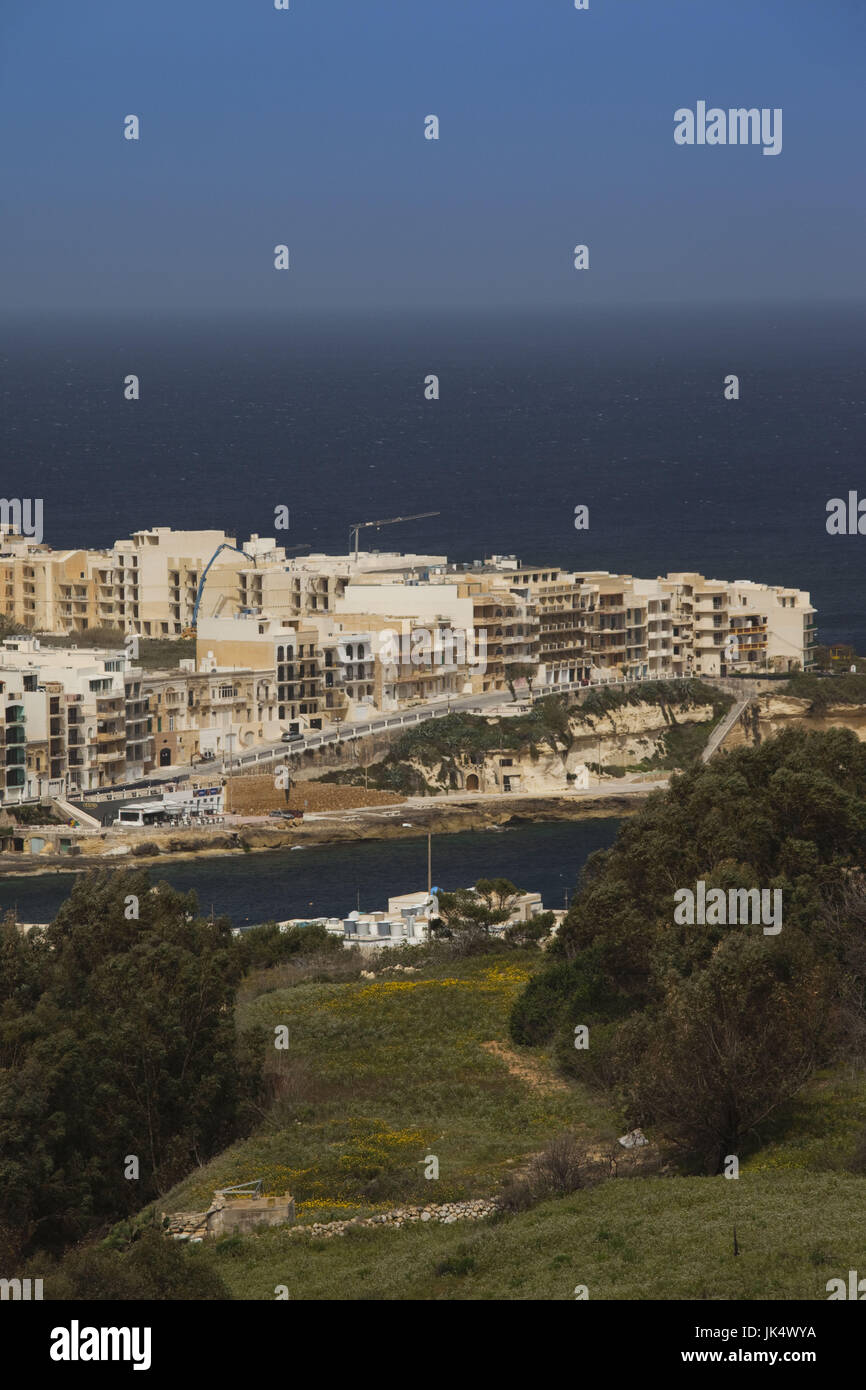 Malta, Gozo Island, Marsalform, elevated view of tourist town Stock Photo