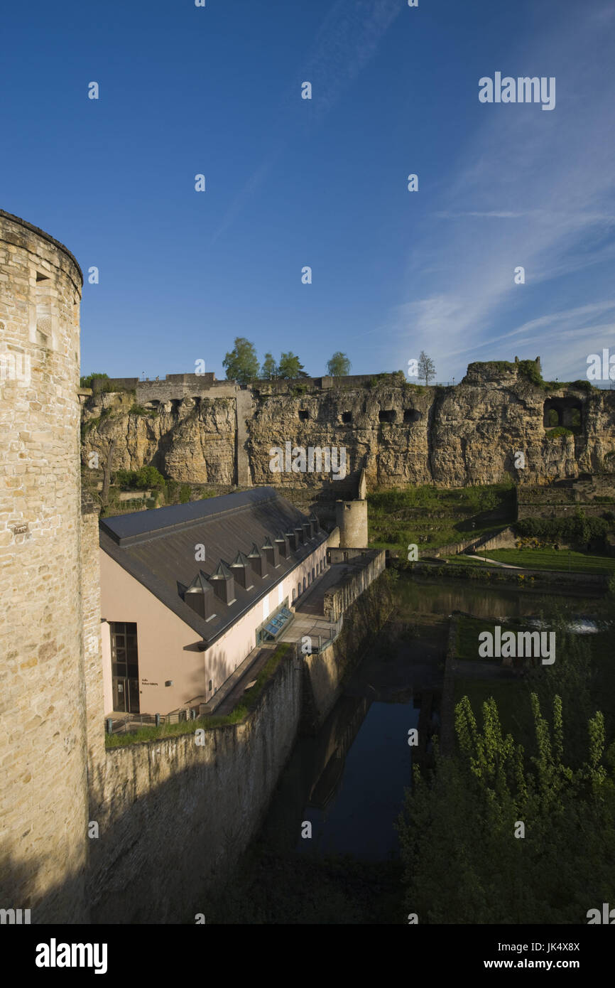 Luxembourg, Luxembourg City, View of Casemates du Bock, fortress built into rock wall, - Stock Image