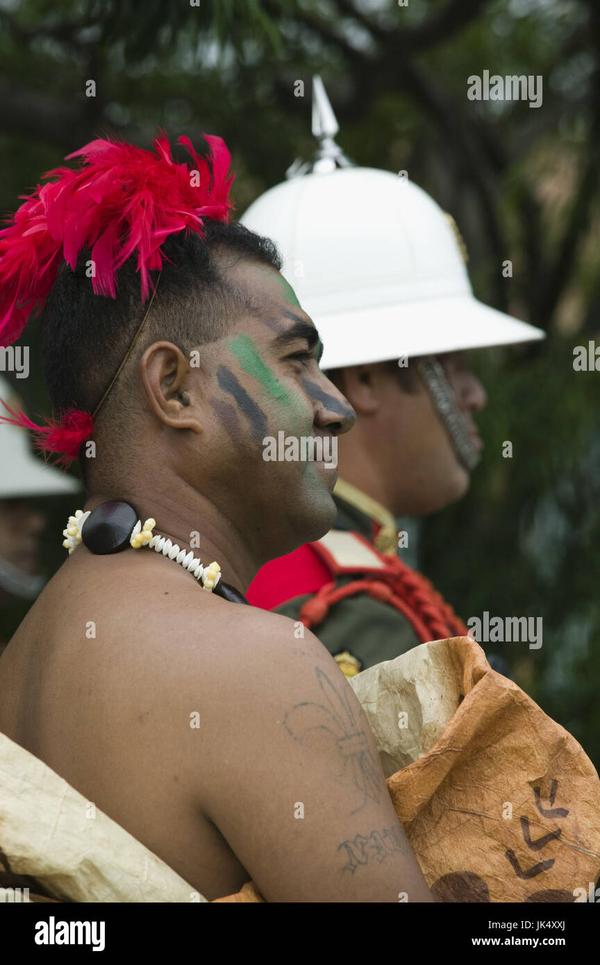 New Caledonia, Grande Terre Island, Noumea, Army Day Festival, Army of Tonga Marching Band member in traditional - Stock Image