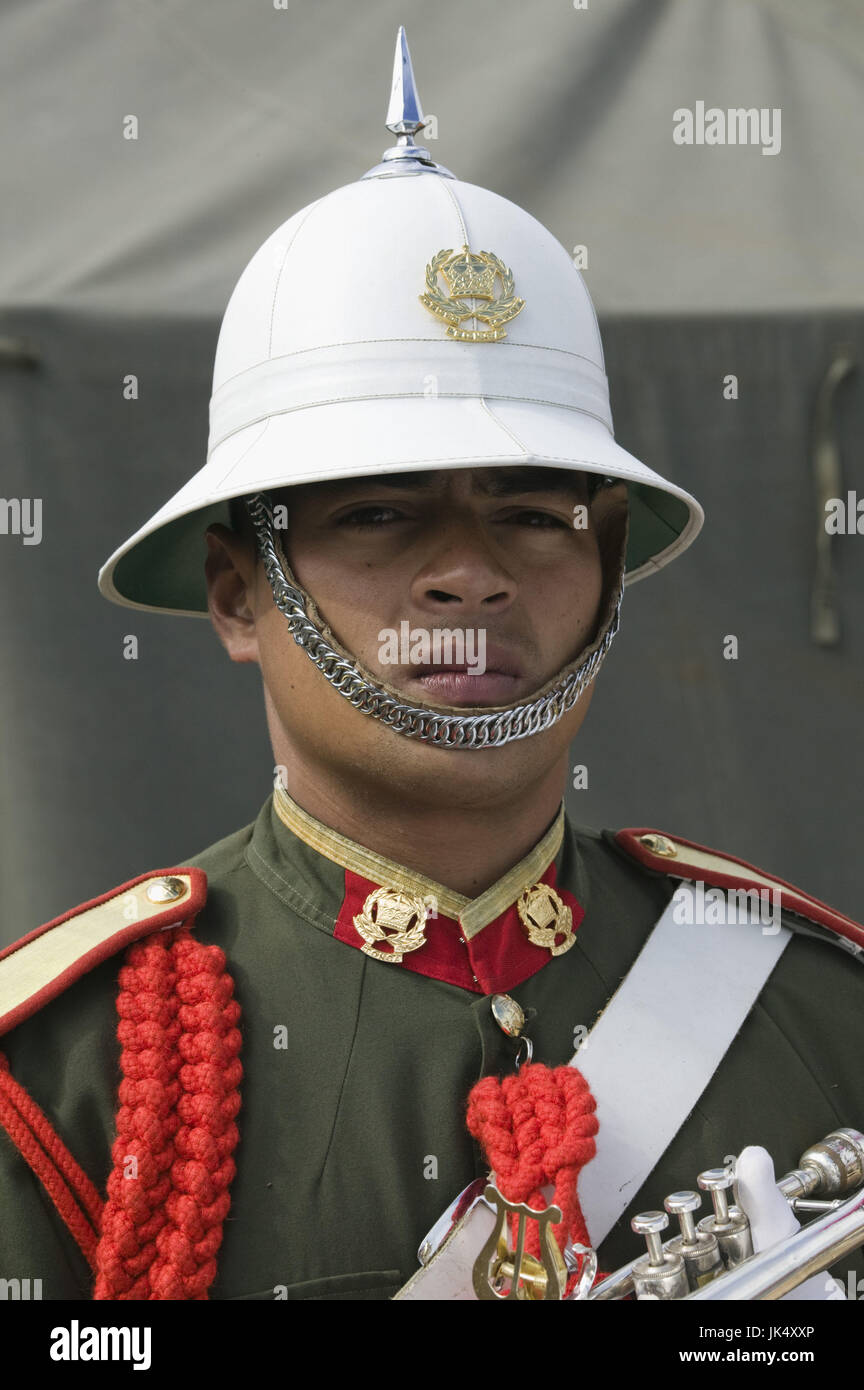 New Caledonia, Grande Terre Island, Noumea, Army Day Festival, Army of Tonga Marching Band member, model released, - Stock Image