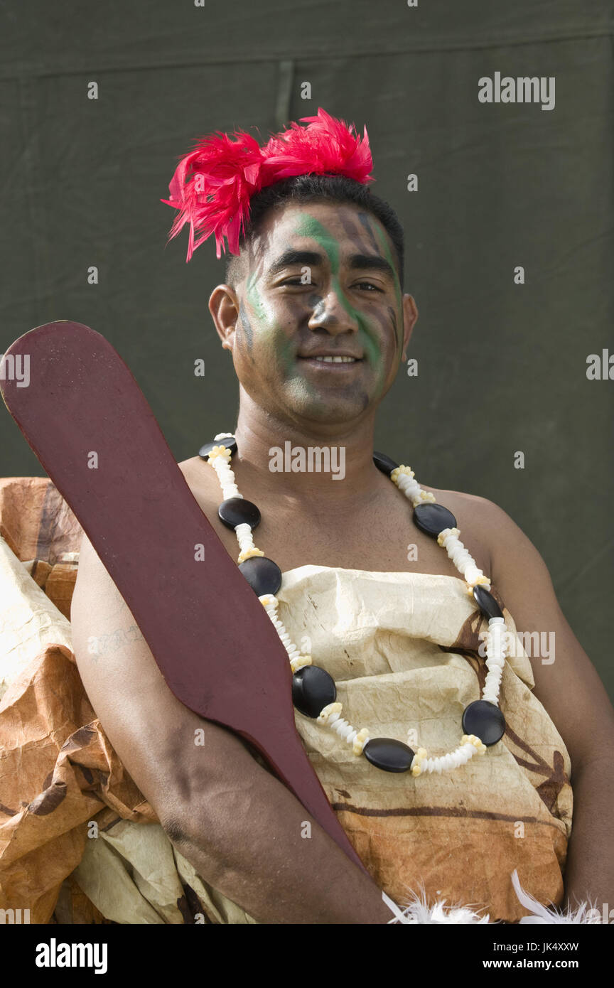 New Caledonia, Grande Terre Island, Noumea, Army Day Festival, Army of Tonga Marching Band member in traditional Stock Photo