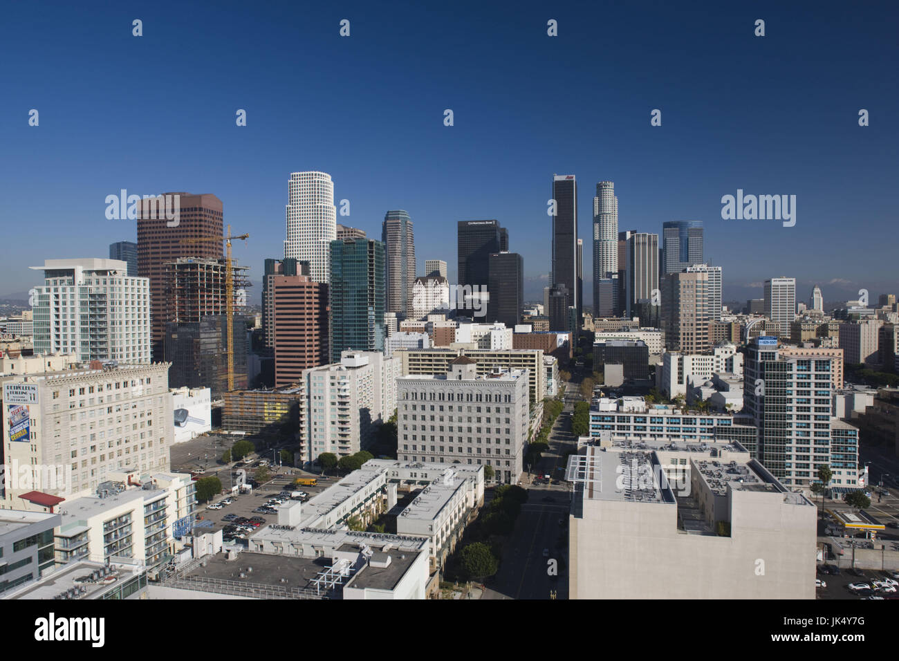 USA, California, Los Angeles, aerial view of downtown from West 11th Street, morning Stock Photo