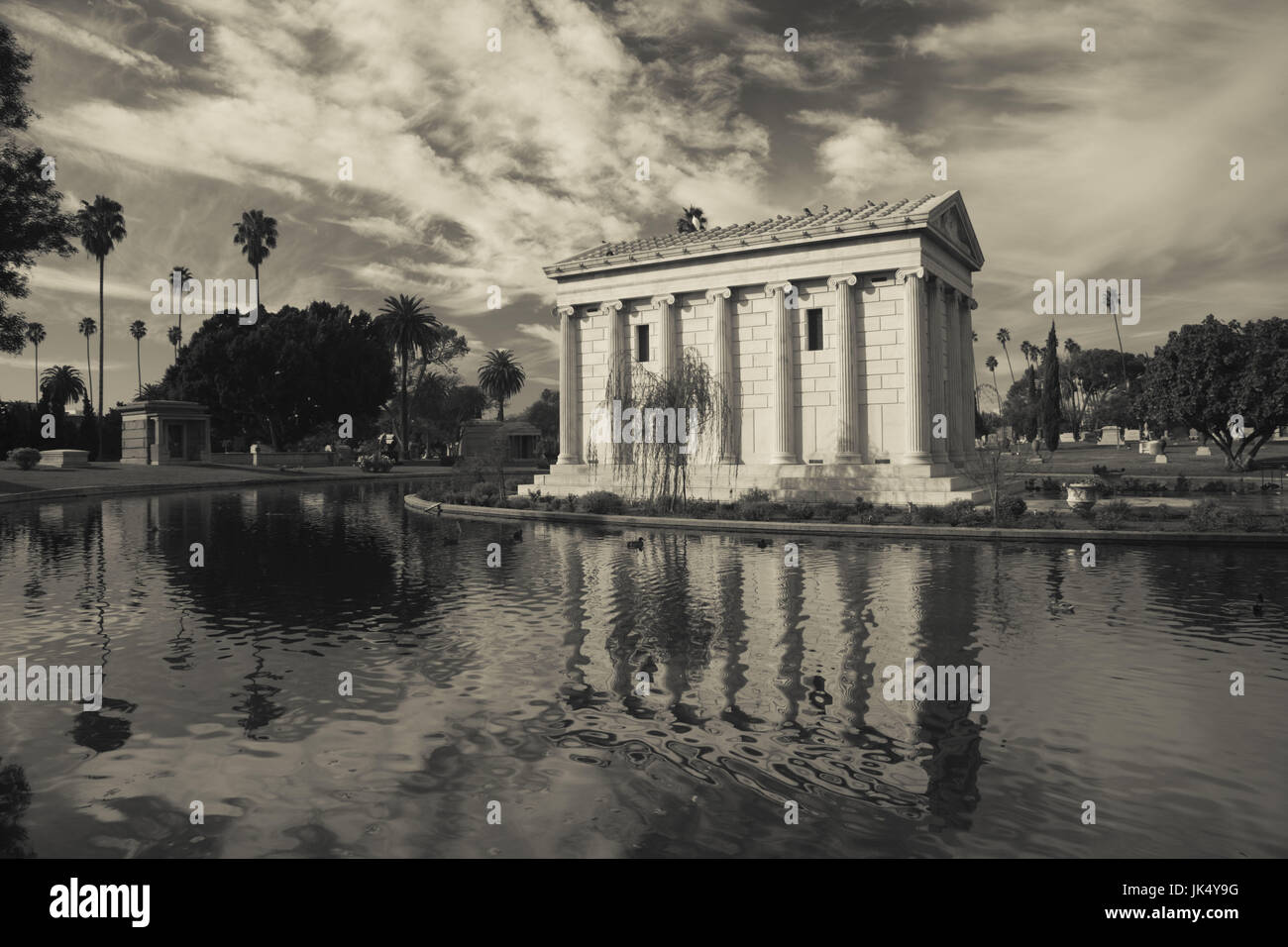 USA, California, Los Angeles, Hollywood, Hollywood Forever Cemetery, Garden of the Legends and Lake Island Stock Photo