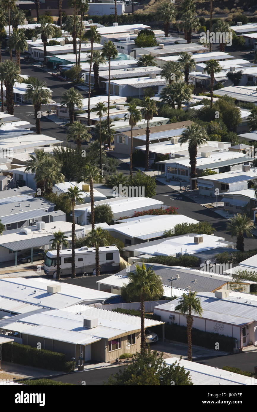 USA, California, Palm Springs, Trailer Park on East Palm Canyon Drive Stock Photo