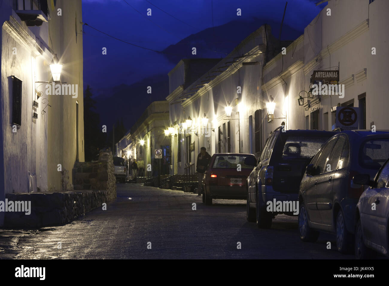 Argentina, Salta Province, Cachi, nightime in the village - Stock Image