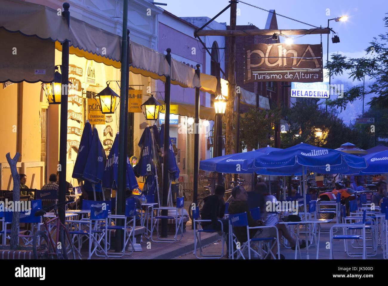 Argentina, Salta Province, Valles Calchaquies, Cafayate, Plaza San Martin cafes - Stock Image
