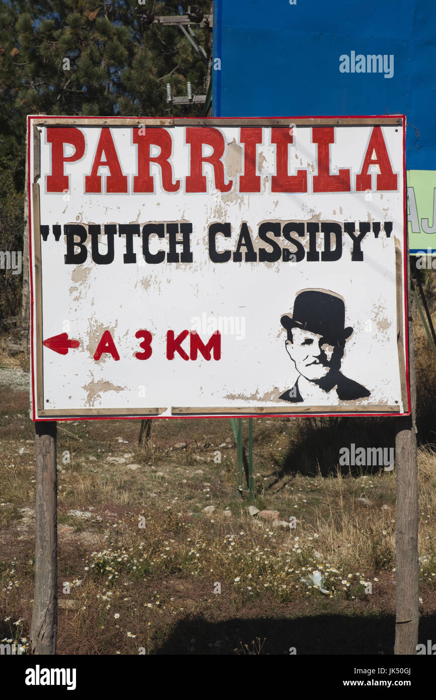 Argentina, Patagonia, Chubut Province, Cholila, sign for the Butch Cassidy parrilla, steak house - Stock Image