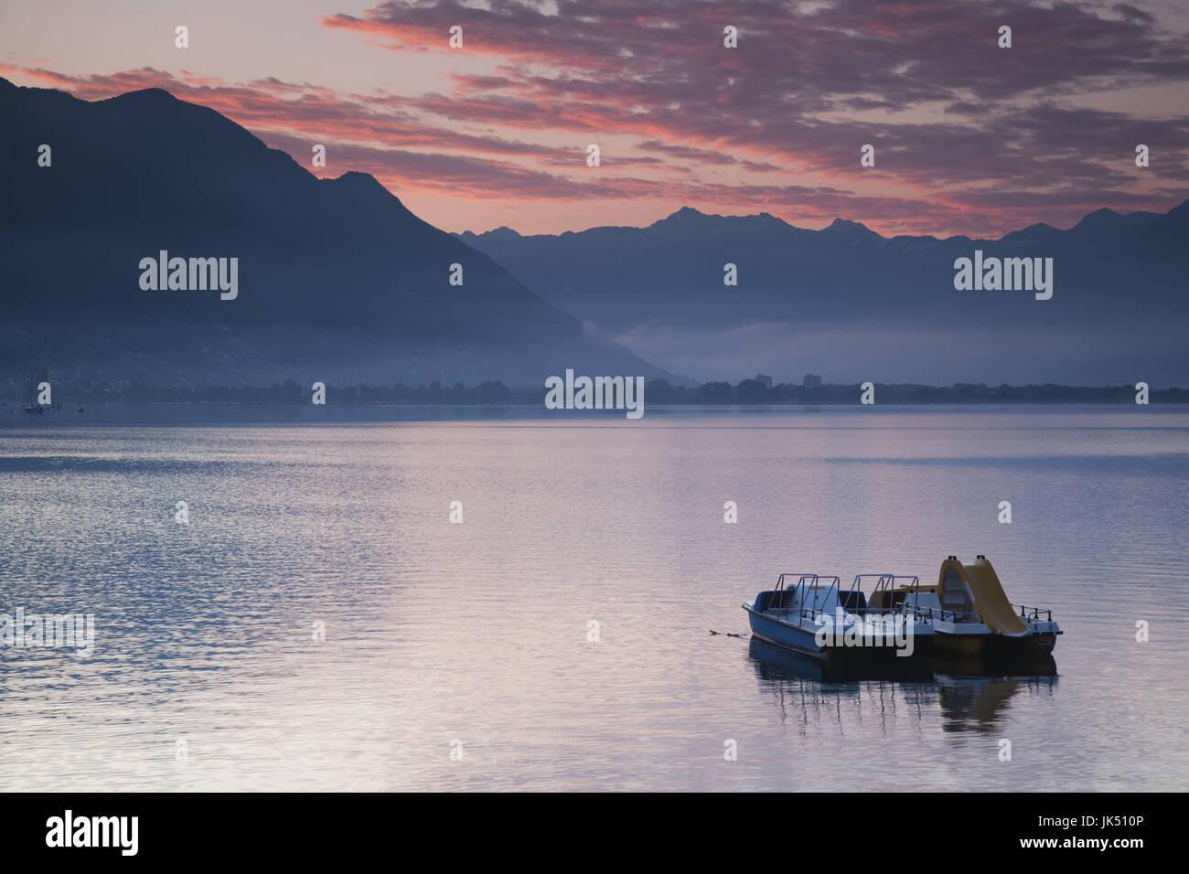 Switzerland, Ticino, Lake Maggiore, Locarno, lakefront, dawn - Stock Image