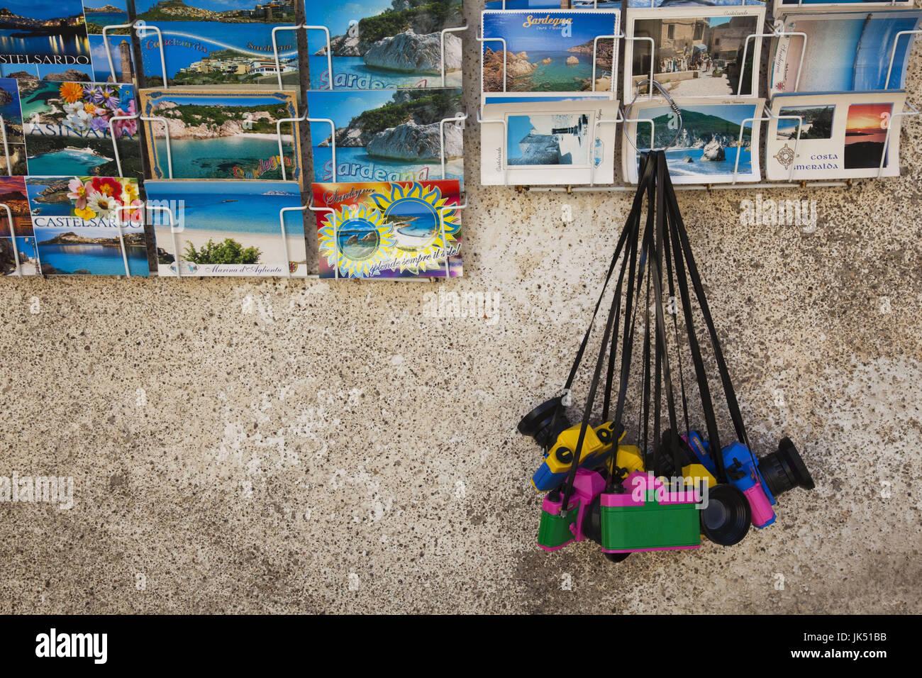 Italy, Sardinia, North Western Sardinia, Castelsardo, postcards and toy cameras - Stock Image